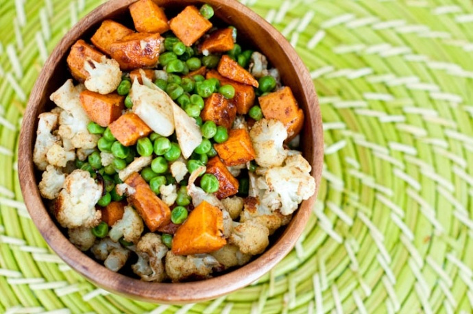 ... potato, 6 servings | Indian-Spiced Roasted Cauliflower, Sweet Potatoes