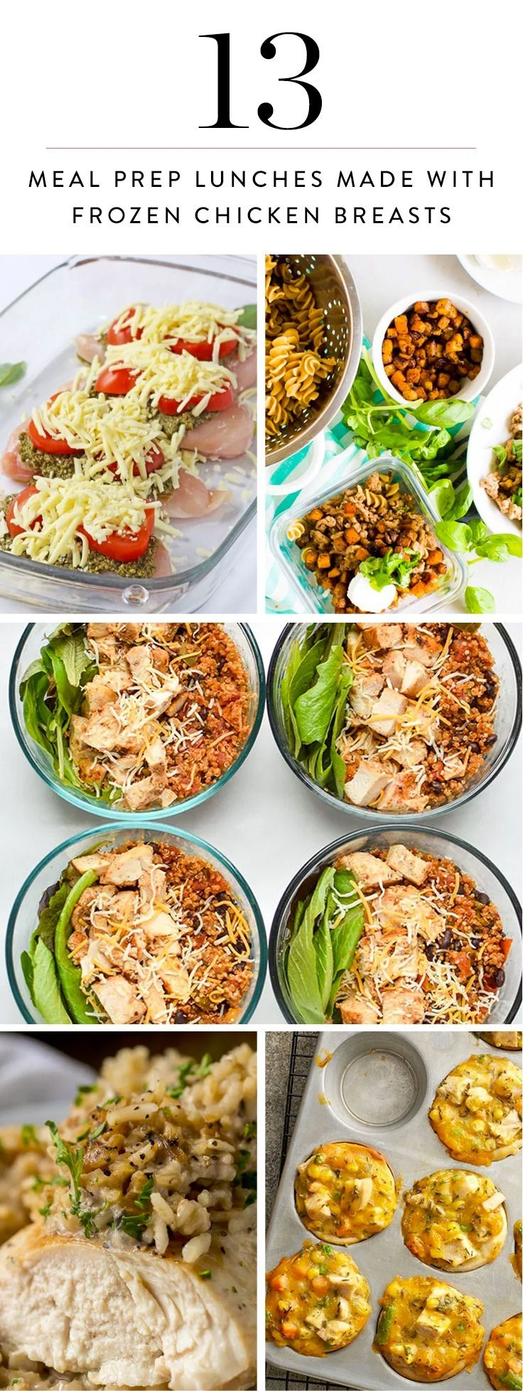 Here are 13 delicious meal prep lunches you can make with frozen chicken breasts. Make it once, eat it all week.