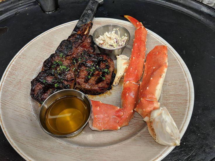 Surf n Turf of Alaskan Premium Red King Crab and 18 oz Bone In Ribeye. Chinn's 34th St. Fishery Lisle Ill. (4032 x 3024). [OC]