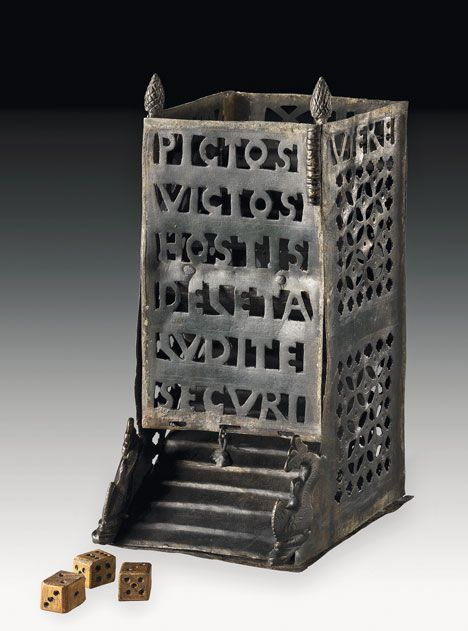 Ancient roman dice tower used in the playing of dice games. 4th century AD
