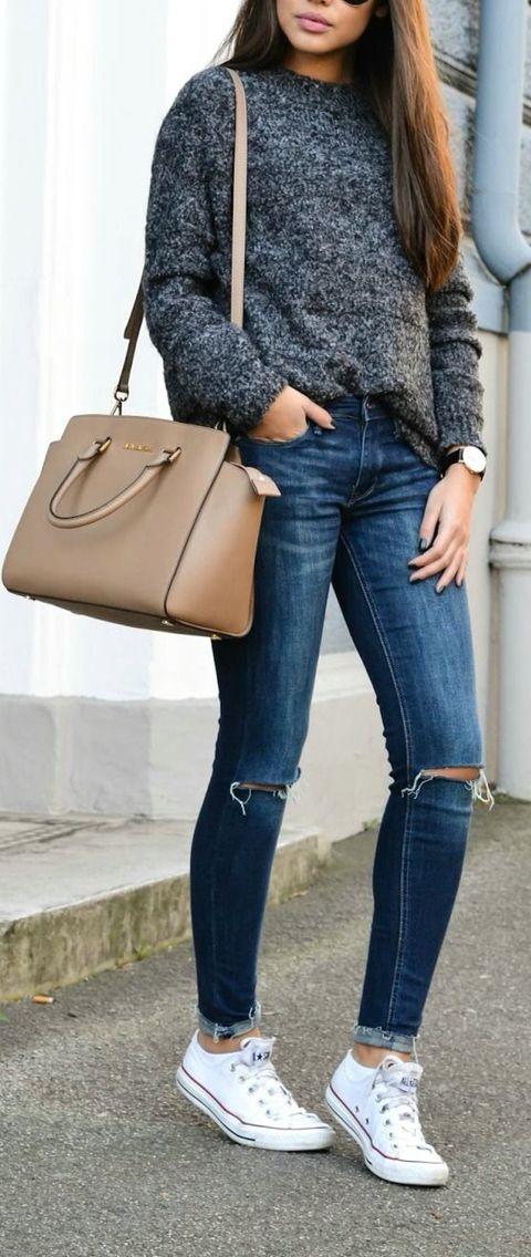 Marled grey sweater + chucks.