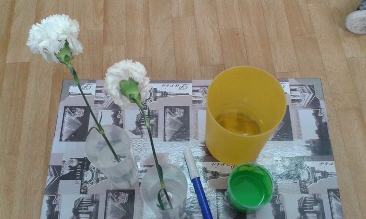 Experimento las flores cambian de colores se ponen en un - Vaso con agua ...