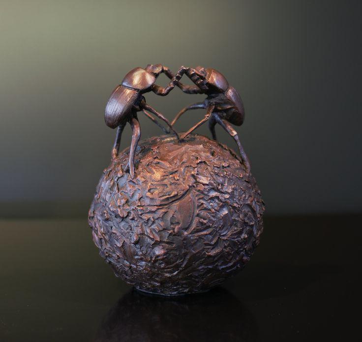 Hijacker - Bronze Sculpture of dung beetles by Bruce Little