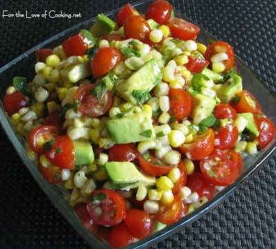 Avacado, corn, and tomato salad with honey lime dressing