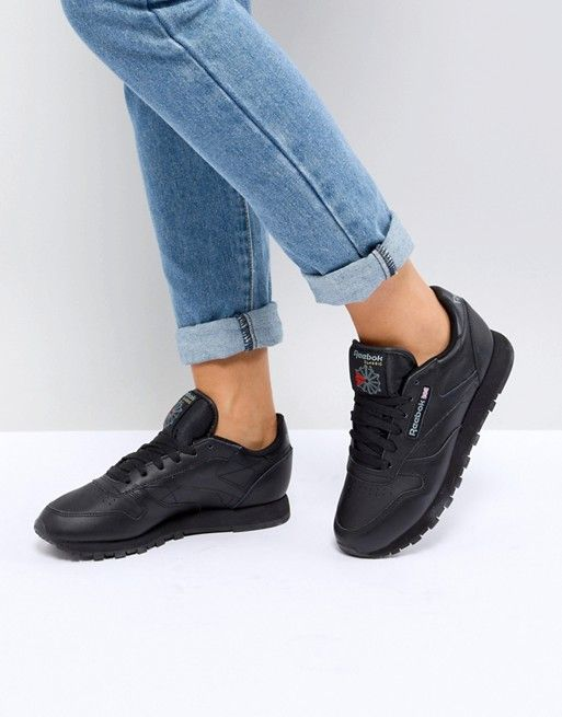 64306e352b602 Reebok Classic leather trainers in black leather