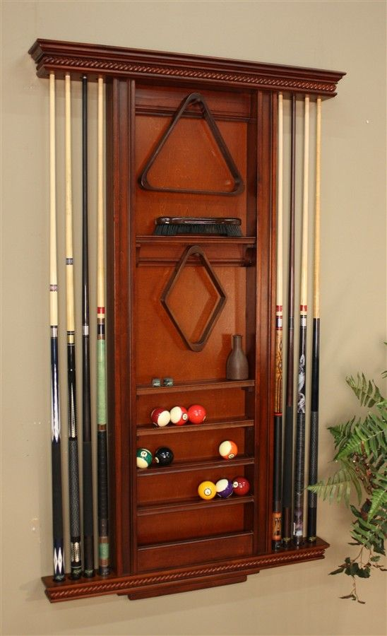 Ventura Wall Billiards Accessory Rack w 8 Cue Slots