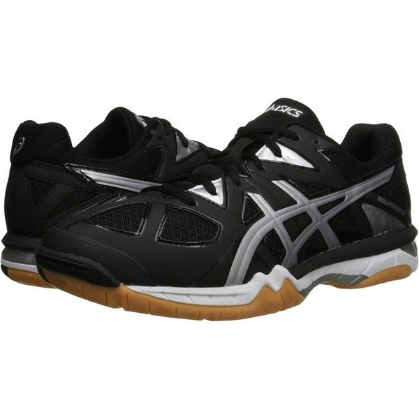 ASICS GEL-Tactictm (Black/Onyx/Silver) Men's Volleyball Shoes ($85) ❤ liked on Polyvore featuring men's fashion, men's shoes, black, mens black shoes, mens shoes, mens breathable shoes, mens silver shoes and mens lace up shoes