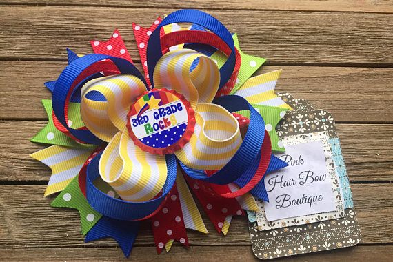 Back to School Hair Bow  Choose your Bottle cap