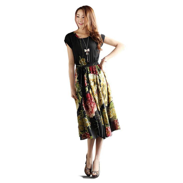 Encontrar Más Vestidos Información acerca de Nueva marca 2015 mujeres del verano vestido Casual vestido sin mangas de impresión de la gasa de la raya de la impresión floral elástico de la cintura de bohemia vestidos para la playa, alta calidad Vestidos de NELPHNI Fashion Co., Ltd. en Aliexpress.com