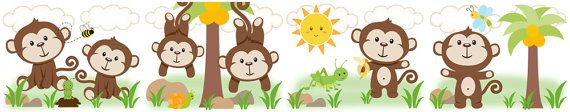 JUNGLE BOY MONKEY wall border decals for baby nursery or kids room decor #decampstudios https://www.etsy.com/listing/161636695/jungle-boy-monkey-wall-border-decals