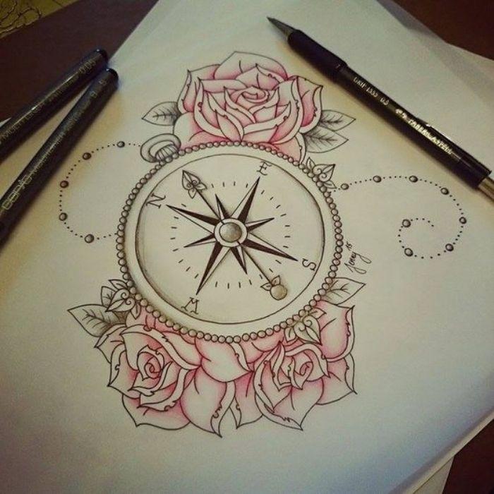 ▷ 142 + inspirierende Ideen und Bilder zum Thema Compass Tattoo!