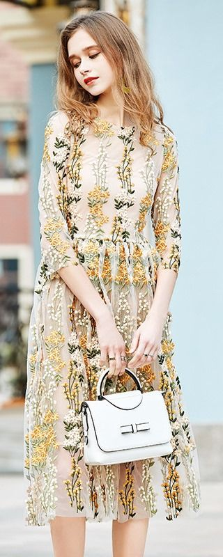 Yellow Embroidered Illusion Dress