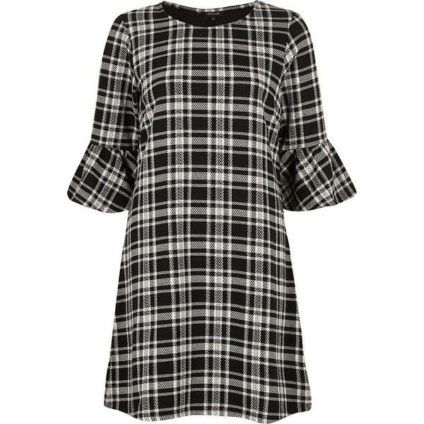 River Island Black and white check flute sleeve dress ($43) ❤ liked on Polyvore featuring dresses, swing dress, black, women, tall dresses, 3 4 length sleeve dress, river island, river island dresses and black white dress