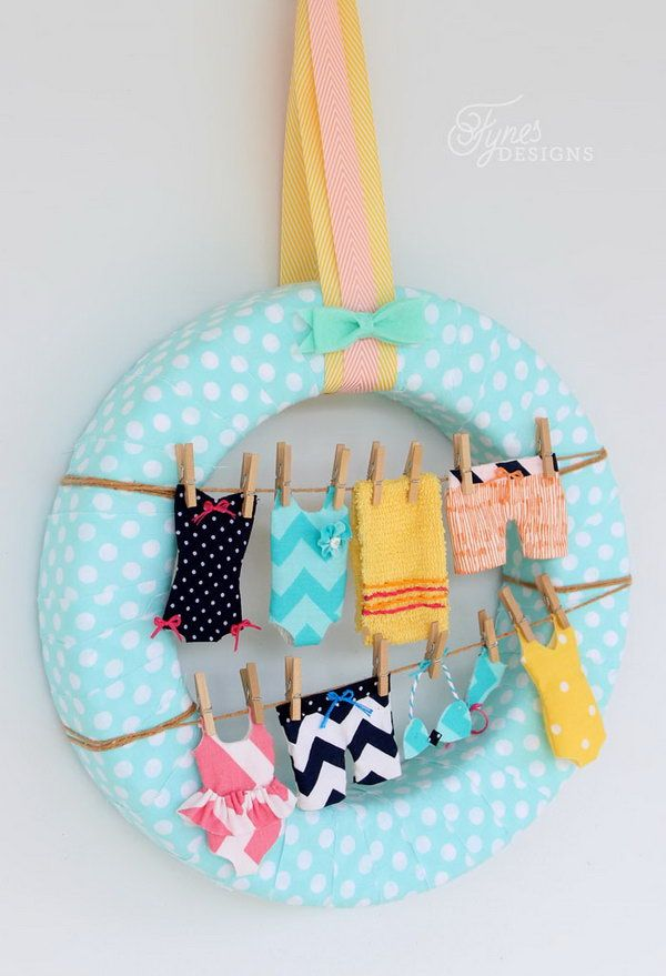 Summer Swimsuits Wreath. Sew tiny swimsuits to make your own fun summer clothesline wreath. See more