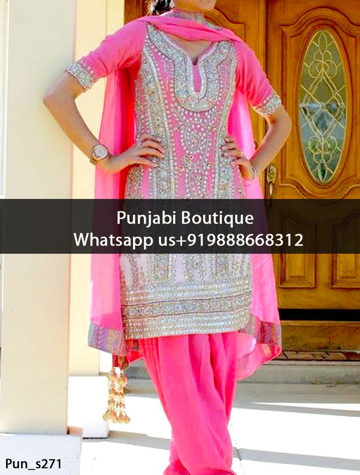 Adorable Deep Pink Heavy Embroidered Punjabi Suit Product Code: Pun_s271 To order this dress , please call or WhatsApp us at +919888668312 We can design this Punjabi Suit in any color combination or on any fabric (price may vary according to fabric)
