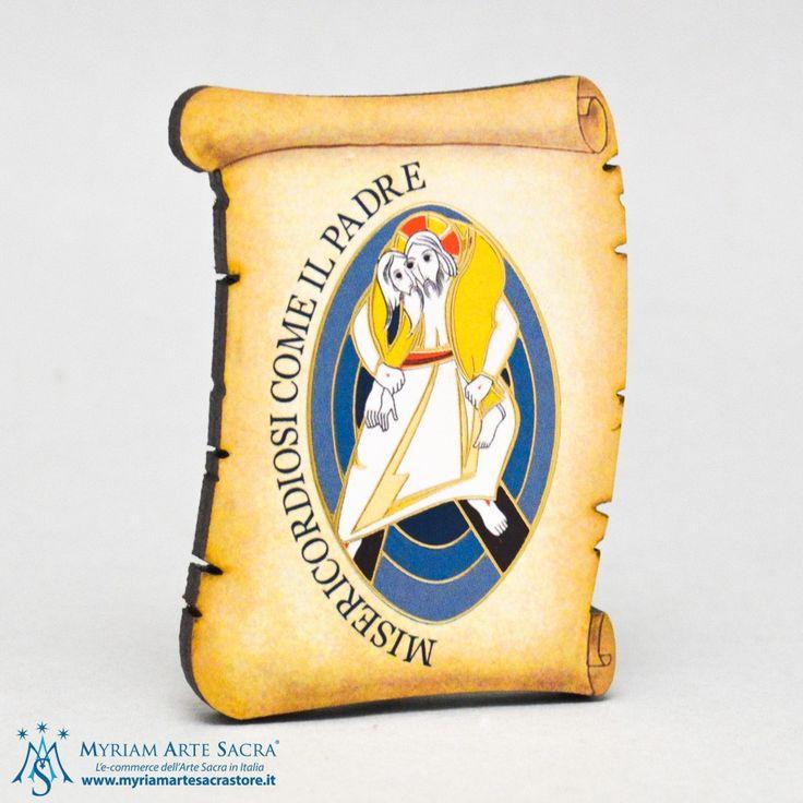 Quadretto pergamena in legno con logo del Giubileo della Misericordia. Prodotto made in Italy.    Misure: H 6,5 cm L 5 cm