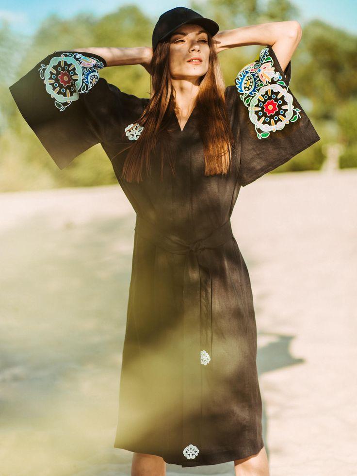 Black embroidered kimono dress with flowers Ukrainian vyshyvanka Linen dress Boho Satin stitch embroidery Folk floral pattern Gift