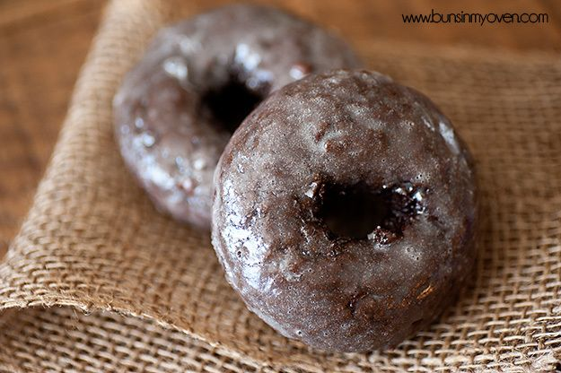 """Glazed Chocolate Cake Donuts Made these into mini muffin/""""donut holes"""" by baking for 10 min.  Had no time for cooling to glaze them (because I wanted to eat them), so let them cool for 2 minutes then shook them in a baggie with sugar for sugar-coating instead."""
