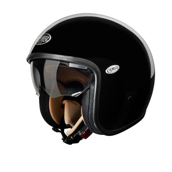 Premier vous propose son casque moto jet Vintage U9   Coque tri-composite DCAfabriquée en fibres Dyneema, carbone, aramide et résine époxy (1 taille