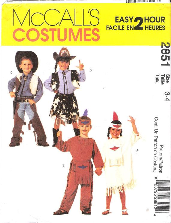 McCalls 2851 Sewing Pattern -   Childrens Cowboys and Native Americans, offered on Etsy by GrandmaMadeWithLove