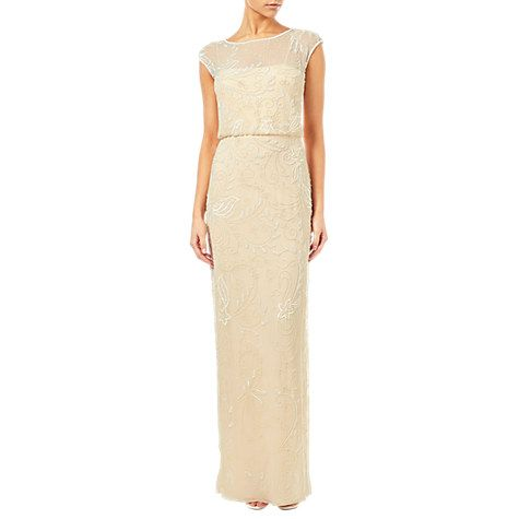 Buy Adrianna Papell Cap Sleeve Beaded Gown, Champagne Online at johnlewis.com