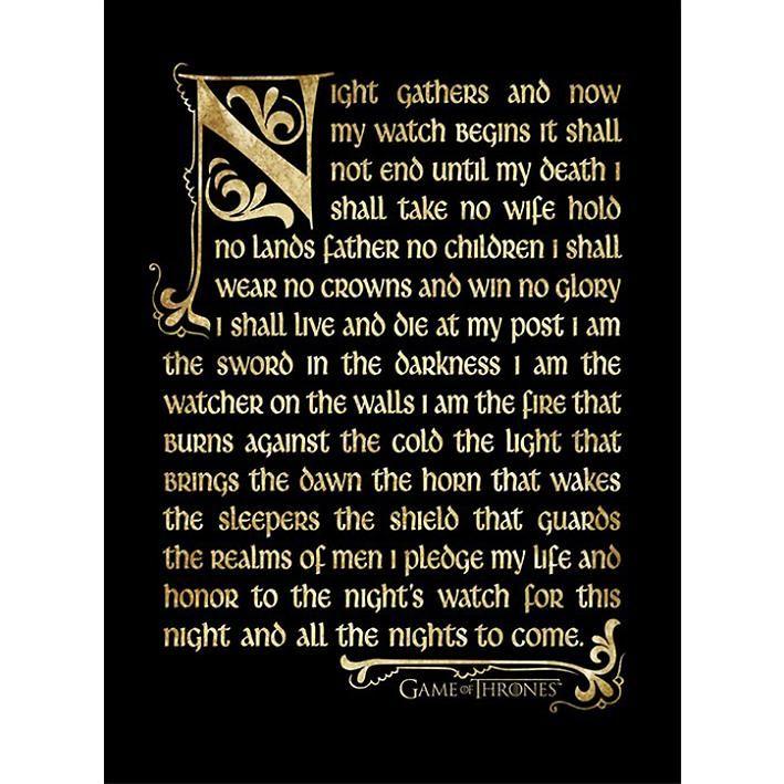 """Game Of Thrones Kehystetty kuva, Vaakasuora, 40 x 30 cm """"Nightwatch Oath"""" • EMP.fi 19,99"""