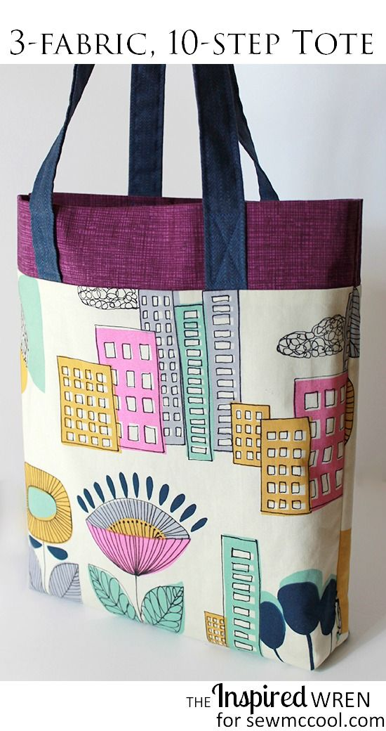 Sew a tote in 3 fabrics, in 10 steps | The Inspired Wren on sewmccool.com
