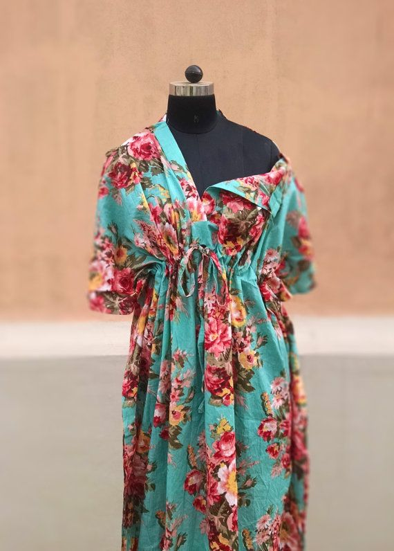 Mint FLORAL Ankle length pastel feeding gown for by comfymommy. Better than a hospital gown