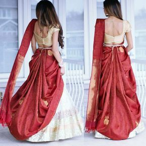 There is a beautiful way to drape 6 yards long saree for your special day to look different, beautiful, glamorous and confident. This helps you be the center of attention. Saree styling ideas by Tia Bhuva, she has reinvented the new style to drape silk saree on top of Lehenga, #cancansaree, Tiabhuv, saree styling ,saree draping style, wedding saree draping style