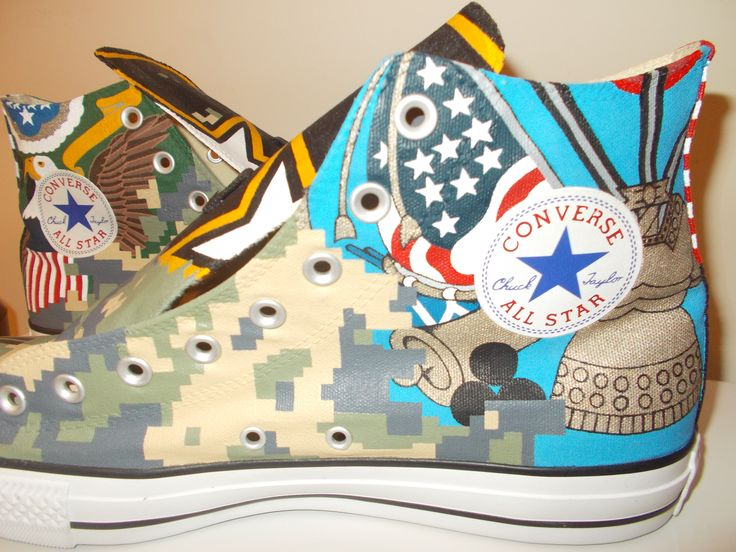 US Army hand painted custom Converse All Star shoes