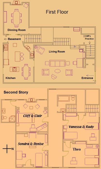 floor plan for the home of cliff and claire huxtable - Roseanne House Plans