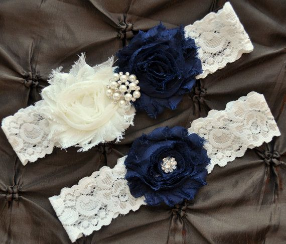 Wedding Garter, Bridal Garter Set - Ivory Lace Garter, Keepsake Garter, Toss Garter, Shabby Chiffon Rosette Ivory Navy Blue, Something Blue, $22.00