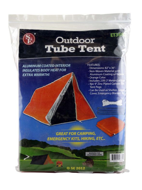 SE ET3683 Emergency Outdoor Tube Tent w/Steel tent Pegs Survival Insulated