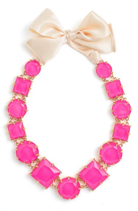 statement necklace: Hotpink, Pink Necklaces, Pink Ribbons, Pink Bows, Hot Pink, Pink Statement Necklaces, Kate Spade, Men Watches, Bows Necklaces