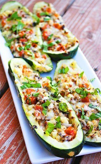 Vegetarisch gevulde courgette. Heerlijk slank recept