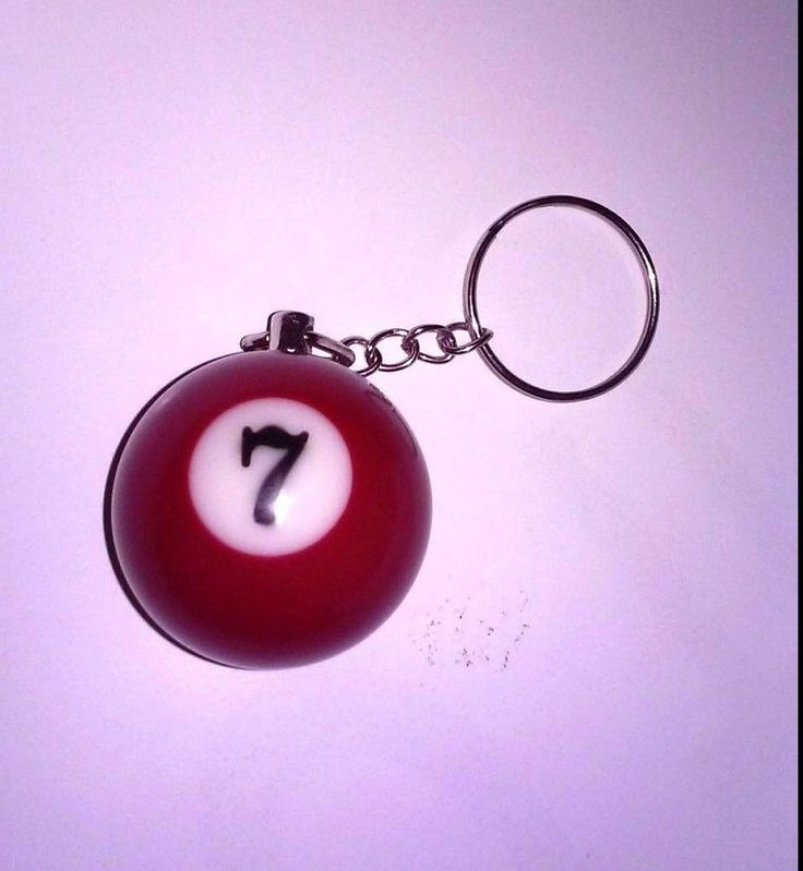 "Keychain Pool Billiards Snooker ""# 7 Ball"" Red Heavy Material Metal Ring"