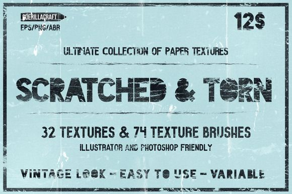 Scratched & Torn paper textures by Guerillacraft on Creative Market