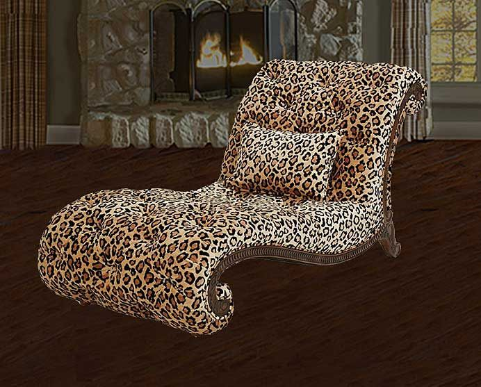 Leopard print chaise from Magnolia Hall : cheetah chaise - Sectionals, Sofas & Couches