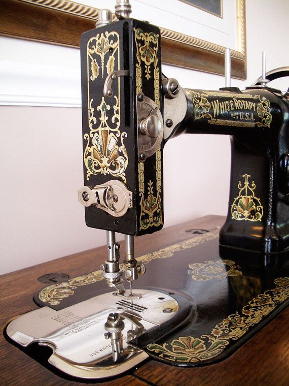RESERVED for priyaiyer: White Family Rotary Treadle Sewing Machine and Cabinet