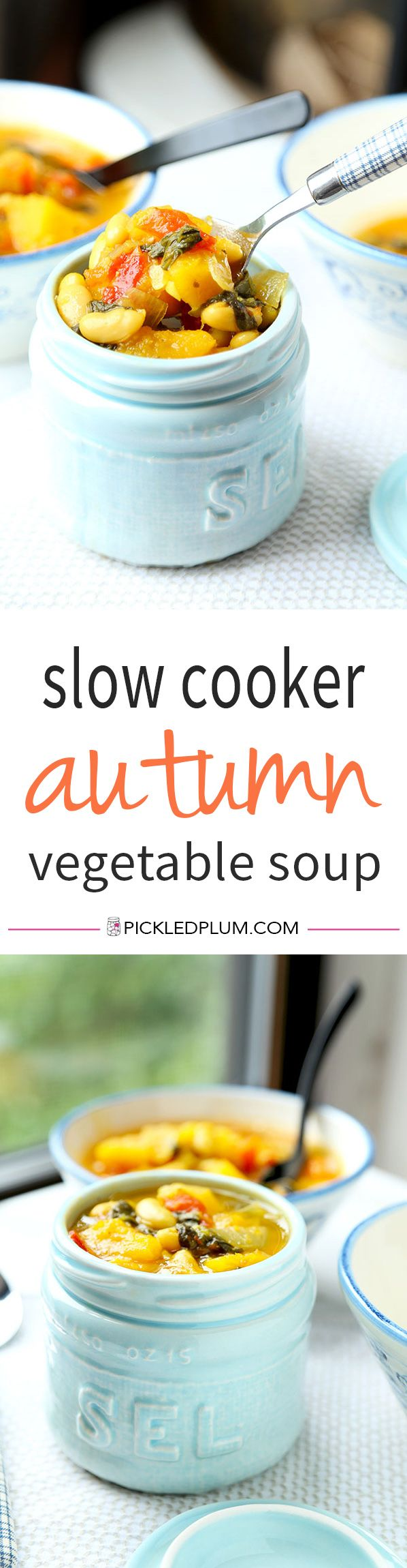 Slow Cooker Autumn Vegetable Soup - With warm, vivid colors like the afternoon light on a fall day, this Slow Cooker Autumn Vegetable Soup Recipe is vegan, gluten free and totally delicious! Recipe, vegan, gluten free, soup, appetizer, hearty | pickledplum.com