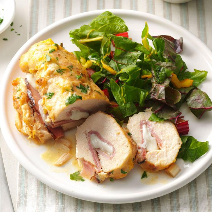 Stuffed Chicken Rolls Recipe -Just thinking about this dish sparks my appetite. The ham and cheese rolled inside make for a tasty surprise. The chicken rolls are especially nice served over rice or pasta. —Jean Sherwood, Kenneth City, Florida