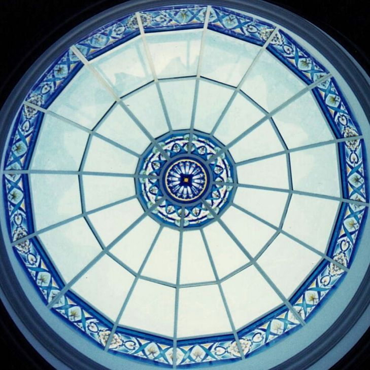Stained glass cupola handmade by France Vitrail International Paris. Pictured in Jeddah after the skylight installation.