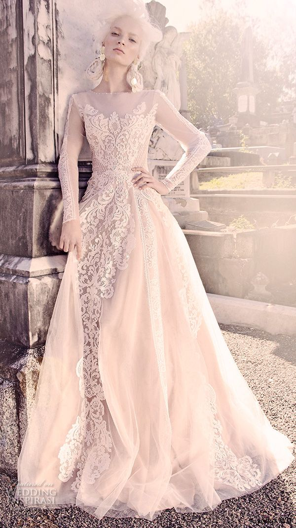 GEORGE WU 2016 #bridal gowns long sleeves illusion jewel neckline fully embellished lace a line ball #gown #wedding dress (vulcan) mv