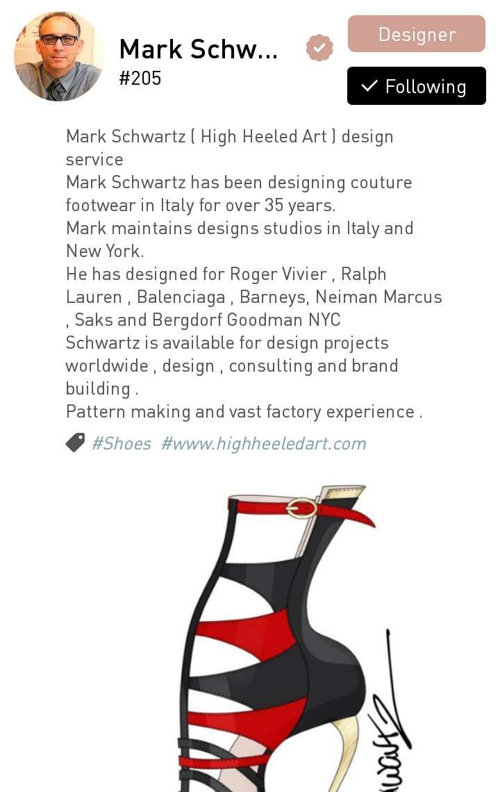 Mark Schwartz, an accomplished couture shoe designer based in New York and Italy.