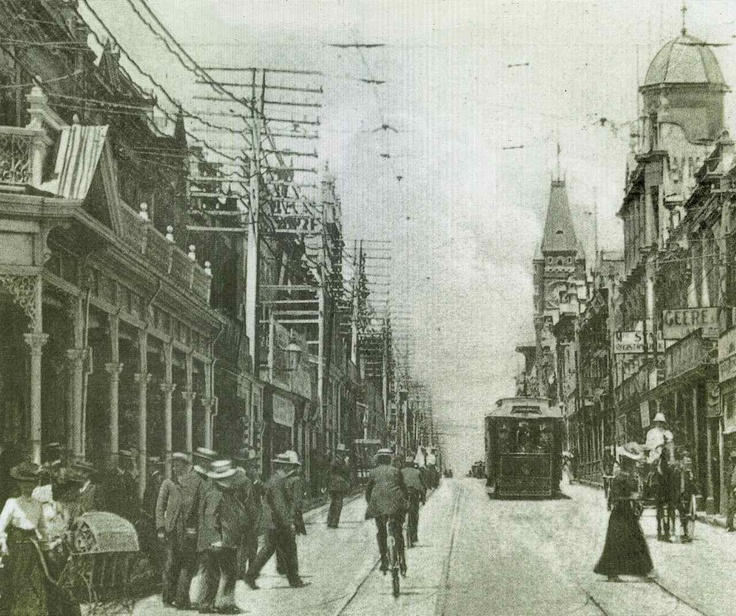 The Hay Street Mall, Perth in September 1909. Look at the tram! I was so excited to think we once had trams here. Why on earth did they get rid of them? The CAT buses are great, but not as glamorous as a tram.