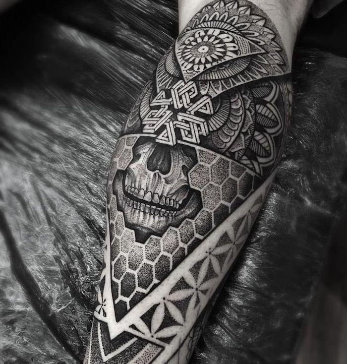 Skull Geometric Leg Tattoo Lotus Mandala Tattoo Black Background In 2020 Leg Tattoo Men Leg Tattoos Tattoos For Guys