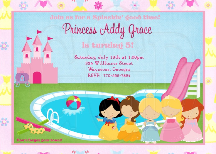Princess Pool Party Invitation-Digital File. $12.00, via Etsy.
