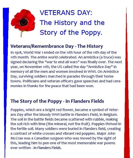VETERANS DAY: The History and the Story of the Poppy More