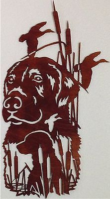 """Black Lab Duck Hunting Scene 12"""" Wide By 22"""" Tall Wooden Wall Art Gift By Laser"""