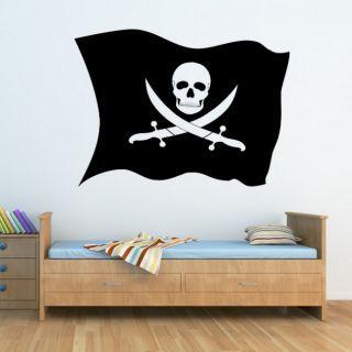 Наклейка для дома от 2stick.ru Развивающийся пиратский флаг с черепом